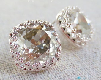 Swarovski Crystal Silver Shimmer Cushion Cut Square Crown Post Bridal Wedding Earrings Bridesmaids Gifts Silver Rose Gold Yellow Gold