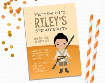 Personalized Printable Rey Invitation - Personalized Printable Invite inspired by Rey from Star Wars, Star Wars Invite