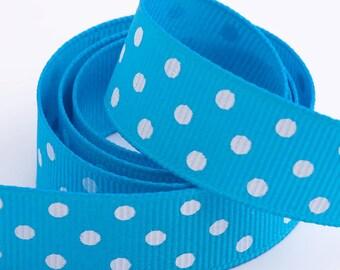 Full Reel Polka Dot Grosgrain Ribbon Ribbon 15mm x 10m - Turquoise