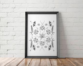 Watercolor Printable, Botanical Printable, Boho Print, Bohemian Art Print, Watercolor Wall Art, Bedroom Wall Decor, Boho Chic, Floral Print
