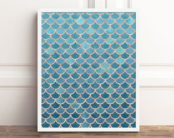 Printable Abstract Wall Art, Teal Mermaid Print, Mermaid Tail PRINTABLE Art, Mermaid Scales, Rose Gold Wall Decor, 8x10 Instant Download