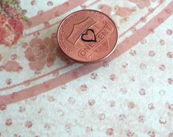 Penny Love Magnet .. Classic Heart .. One U.S. Coin .. Hand-stamped & Antiqued .. Pennies, Nickel, Dime, Quarter .. 1 Symbol .. Coin Varies