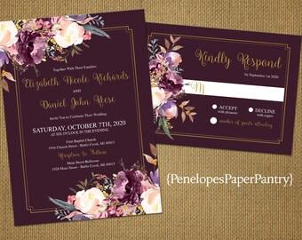 Romantic Plum Fall Wedding Invitation,Lavender,Blush,White,Roses,Greenery,Gold Border,Gold Print,Shimmery,Printed Invitation,Wedding Set