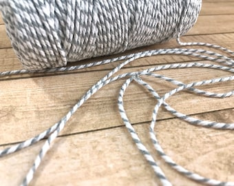 1 Yard of Gray and White Baker's Twine, Rope, String, Craft Supply, Scrapbooking, Card-making, Home Decor, Wedding, Gift Wrapping, Baking