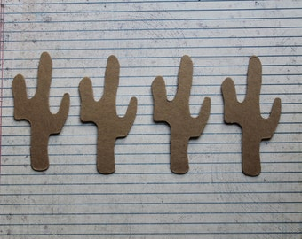 "4 Cactus bare chipboard die cuts 1 7/8"" wide x 3 3/4"" tall"
