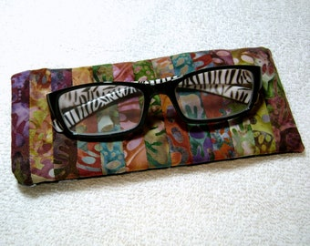 Fabric Eyeglass Case - Quilted Eyeglass Case - Glass Case - Batik Fabric Case - Sunglass - Handmade Case - EGC4