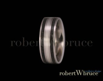 MEGALODON, Sterling Silver & Titanium Groom's Wedding Band Ring - Exclusive rWb Custom Design