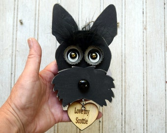 Scottie Dog Ornament, Recycled Hand Made  Black Scottie/ Westie dog upcycled Ornament
