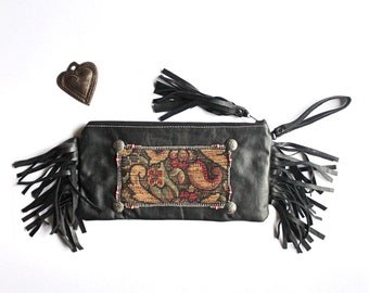 Ebony Wind Keepsake Clutch / Black Leather fringe Clutch / Tribal SouthWest bohemian tapestry cosmetic makeup zipper bag