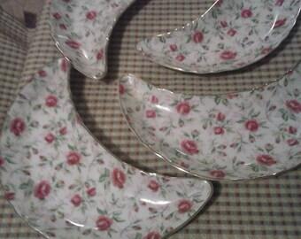 Lefton Rose Chintz Hand Painted Bone Dish Set of 4