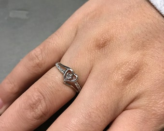 Size 4, Vintage sterling silver crystal heart shaped ring, solid 925 silver with clear crystal, stamped 925, signed MC CH