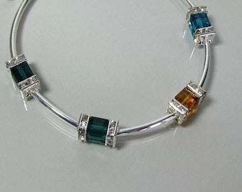 Mother's Birthstone Bracelet, Sterling Silver Birthstone Bracelet, Swarovski  Bracelet,  Bangle Bracelet, Grandmother's Birthstone Bracelet