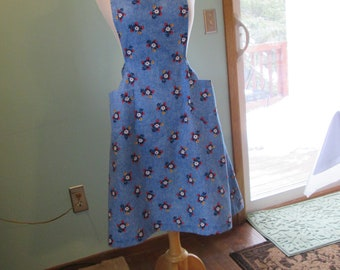 Full Apron,  Denim  Floral Print, Tie Back Apron with Large Pockets