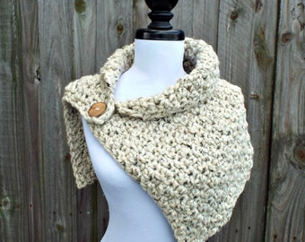 Chunky Scarf Crocheted Cowl Scarf - Oversized Lucienne Cowl in Oatmeal - Oatmeal Cowl Oatmeal Scarf Oatmeal Neckwarmer Womens Accessories