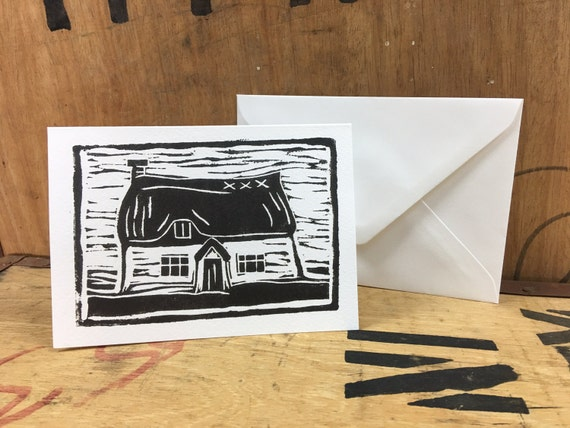 Thatch Card • Cottage Card • Thatched Cottage • English Cottage • Country Cottage • Cottage Lino Print • Cottage Illustration • Cottage Art
