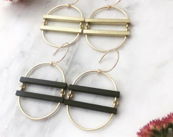 Black Bars and Golden Brass Hoops Earrings