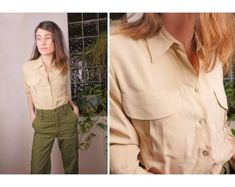 SALE Silk Ivory Button Down