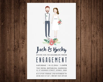 Engagement Invitation - Custom Illustrated Portrait