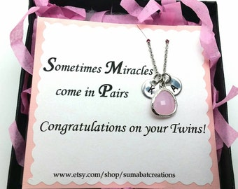 October twins mom necklace, Gift for new mom with twins,Mommy necklace,Twins initials and birthstone,Baby birthstone necklace,Christmas gift