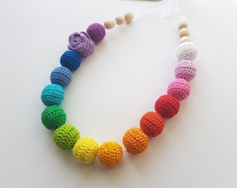 Nursing necklace Teething necklace Baby Toy Teething toy Baby shower gift Baby girl gift  Teether New baby toy Breastfeeding Rainbow toy