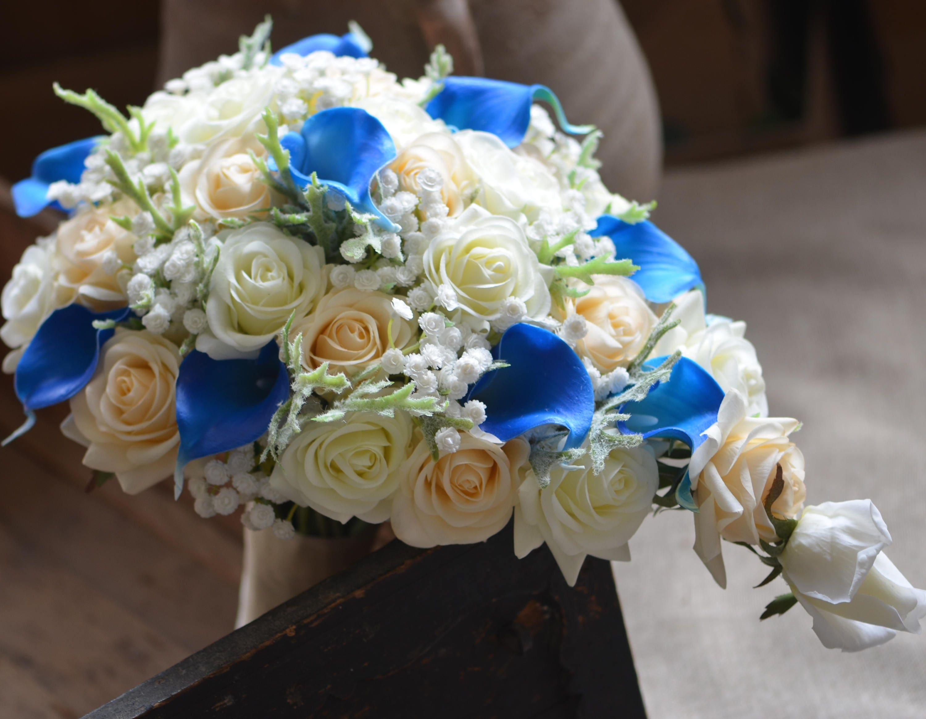 Cascade bridal bouquet ivory royal blue real touch flowers zoom izmirmasajfo