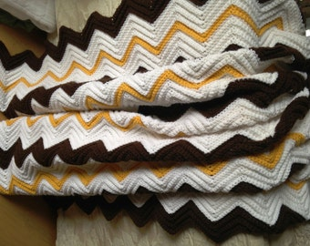 Chevron pattern afghan,  Crochet baby blanket,  Warm handmade baby blanket, colors white, brown, yellow. Sized for toddler/car blanket ,