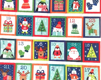 Advent Calendar Quilted Modern Festive Pictures Pockets