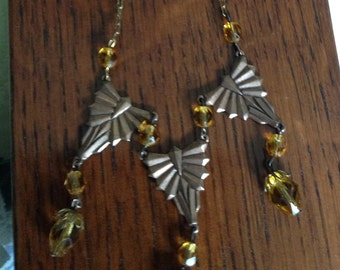 """1930's, 16"""" long necklace of three copper triangular shaped small pendants"""