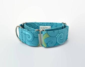 Under the Sea Custom Dog Collar - Martingale Collar or Side Release Buckle Collar - Aqua blue swirls with Mermaid Tails