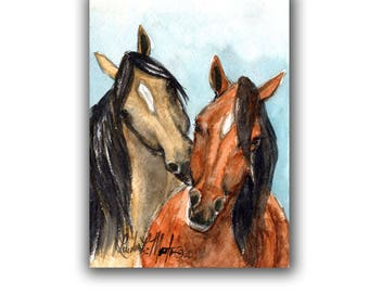 Horses Wild Mustangs  LLMartin Original Watercolor Painting Children Horse Lovers Free First Class Shipping USA