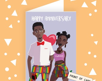 Anniversary Greeting Card • Greeting Cards for Black People, Black People Cards, Cute Anniversary Cards, Kubitees, Couples Greeting Cards