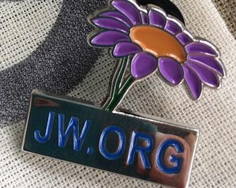 3.25 ea. >JW.ORG Purple Flower [LOT of 6] Premium Lapel Pins with Rubber Clasp
