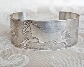 Tribal Horse Art Jewelry Handmade Sterling Silver Bracelet Equestrian Jewelry Sterling Silver Jewelry