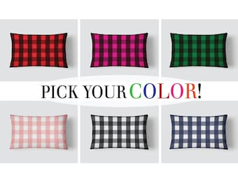Buffalo Check Pillow, Plaid Lumbar Pillow, Box Check Pillow, Check Long Cushion, 14x20 Cushion Cover, Cover and Insert, Decorative Pillow