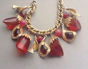 50's Double Blown Glass Charm Link Bracelet, red stones, gold tone, heavy chain link, original, mid century, Greece