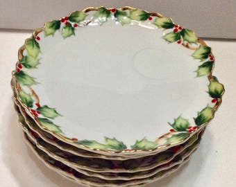 Lefton China 1402 holly gold trim dinner plates set of 7.