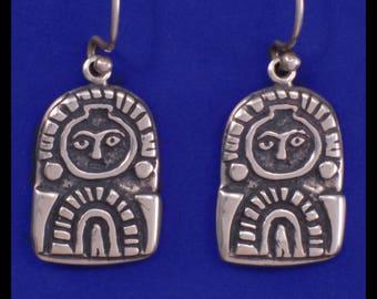 Columbia River Gorge, Sunburst Petroglyph- Sterling Silver- Earrings