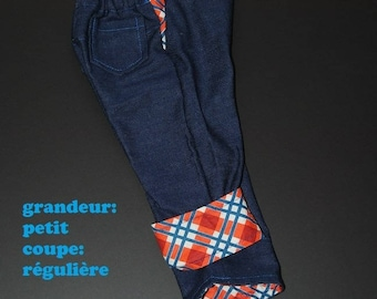 Scalable jeans, size small, slim, blue and orange Plaid
