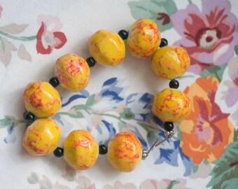 Large Yellow Orange Sponge Painted Ceramic Beads 20x23mm Sold Individually (9)