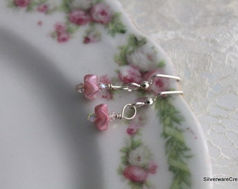 Vintage PINK RUFFLE EARRINGS - Fine Beaded Jewelry - Sterling Silver Ear Wires Ready to Ship Made in Usa