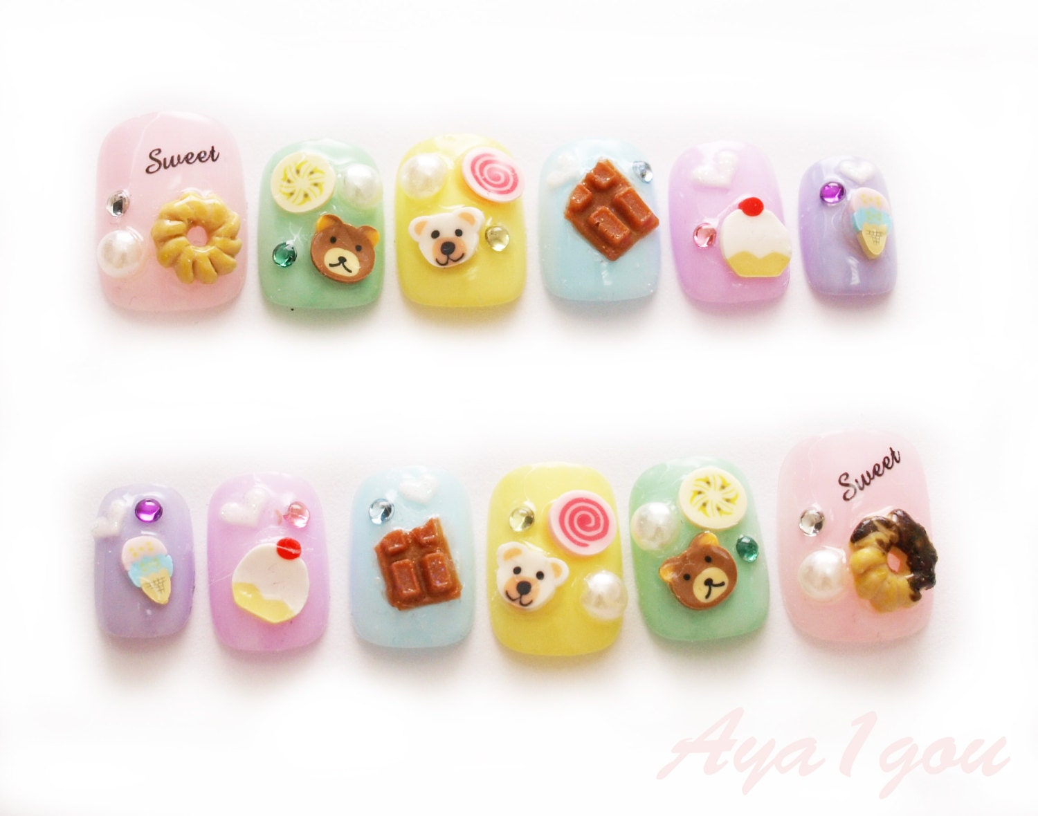 Fairy kei donut nail art kawaii nail nail decal sweet