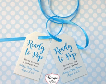 Baby Shower Favor Tags Baby Shower Tag Favor Tags Ready to Pop, Girl Baby Shower Boy Baby Shower Gift tags Custom Tags with Your name