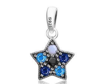 925 Sterling Silver Authentic 100% Charms,Sterling Silver Beads,Fit Pandora Bracelet,Pendant,Star Charm,Drop Charm,Rhinestones Charm Blue