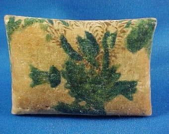 Antique c 1830 Velvet Theorem Sewing Pin Cushion, Green Paper Bottom
