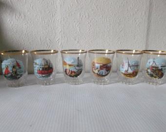 Vintage 1950s Nautical Barware Shot Glasses Mid Century Modern Set of 6
