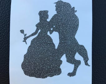 Beauty and the Beast silhouette, laptop decal, vinyl sticker, humble decal sticker, cell phone, hustle decal vinyl