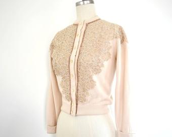 Vintage XS Cardigan Sweater Orlon Acrylic Off White Cream by Jernat // XXS 50s 1950s 60s 1960s