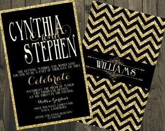 Black and Gold Wedding Invitation, Glitter Wedding Invitations, Black and Gold Chevron Wedding Invitations, Gold Glitter Wedding Invitations