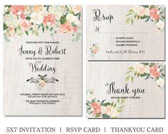 Rustic wedding invitation, printable with matching rsvp and thank you cards, boho rustic wood with blush watercolor flowers