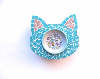 Mosaic Cat Feeder, Elevated Cat Bowl, Ceramic Cat Bowl, Cat Dish, Raised Cat Bowl, Gift for Cat Lovers, Pet Feeders, Cat Feeding Station